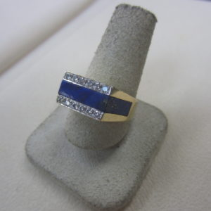 14k Solid Gold Ring with Blue Lapiz Inlay